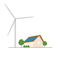 Eco residential family house with blue solar panels on roof and wind turbine