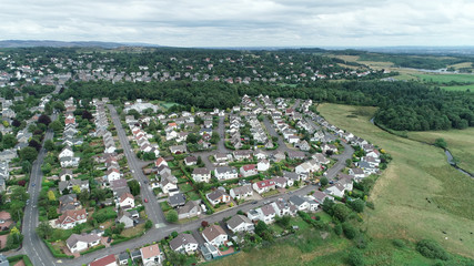 Aerial image over the village of Kilmacolm in West Central Scotland.