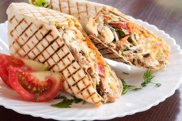 Fresh Shawarma grilled in a white dish