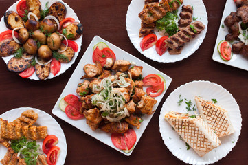 Foto op Canvas Assortiment Mix kebab on a plate top view