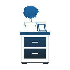 Drawer with plant and picture vector illustration graphic design
