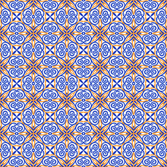 Ornamental seamless vector pattern. Blue and orange print for textile