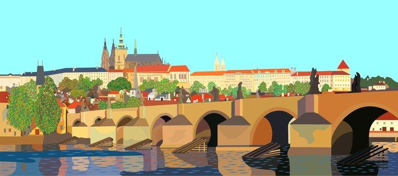 Prague Castle and Charles Bridge in Prague, Czech Republic, a stylized view