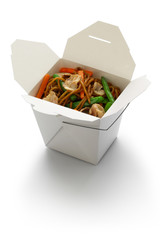 chow mein, take out chinese cuisine isolated on white background