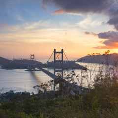 Tsing Ma Bridge at sunset, Tsing Yi, Hong Kong, China
