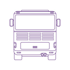 City bus. Intercity bus. Vehicle for transportation passengers. Excursion bus. Back view linear illustration.