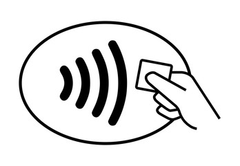 Contactless card payment on white background