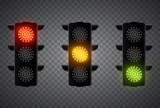 Realistic 3d led traffic lights isolated on transparent background. Vector illustration.