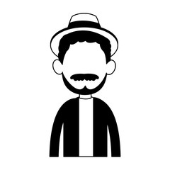Young man avatar with beard and hat vector illustration graphic design