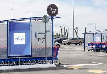 Shopping Cart Kiosk Advertisement Mockup