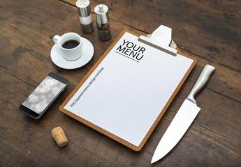 Restaurant menu or corporate identity design mockup