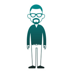 Young man avatar with beard and sunglasses vector illustration graphic design