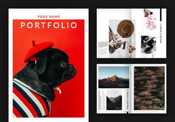 Portfolio or Lookbook Layout with Red Accents