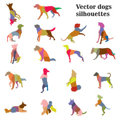 Dogs breeds silhouettes