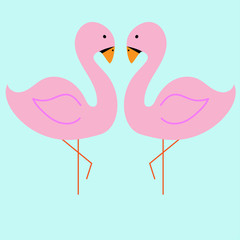Vector illustration of pink flamingo. on the blue background. Exotic tropical bird.