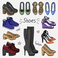 Set of hand drawn women accessories. Shoes. Fashion collection. Colored doodle illustration.