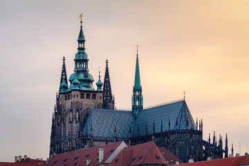 Closeup view on Prague castle at the sunset, Czech Republic