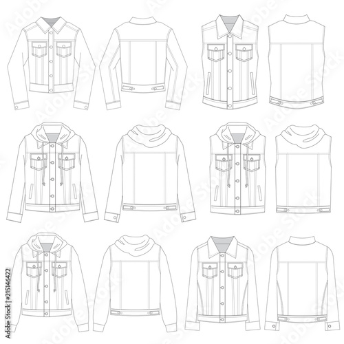 Vector Template For Denim Jacket Styles Stock Image And Royalty