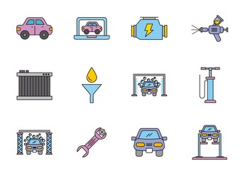 25 Colorful Car Themed Icons