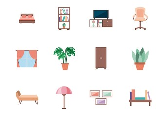 25 Colorful Furniture Icons