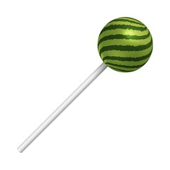 Watermelon lollipop on a white background. A realistic sweet candy. Vector illustration