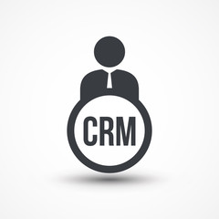 Human flat icon with word CRM Customer Relationship Management