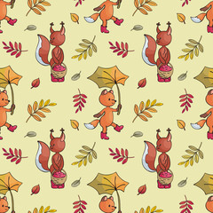 Autumn seamless pattern with cute forest animals in doodle style. Colorful vector background.