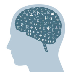 Mathematical symbols in a dark gray brain and silhouette of a head. Some symbols from mathematics, white colored, in a darker brain area. Isolated illustration on white background. Vector.