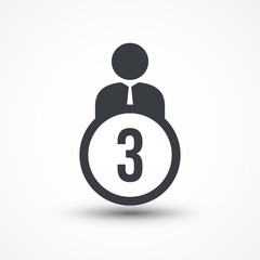 Person flat icon with number 3