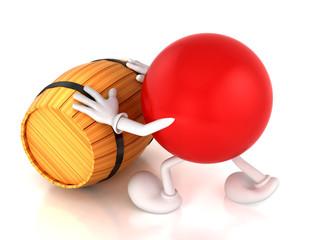 Pushes a barrel,3D illustration