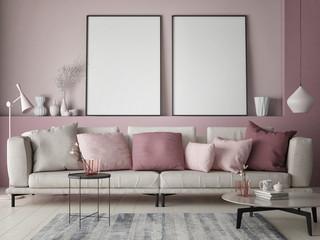 Mock up poster on rose wall in hipster living room, pastel colored, 3d render, 3d illustration