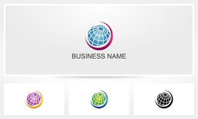 Global Globe Swoosh Logo