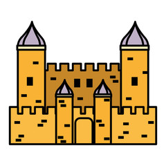 color fantastic medieval castle architecture style