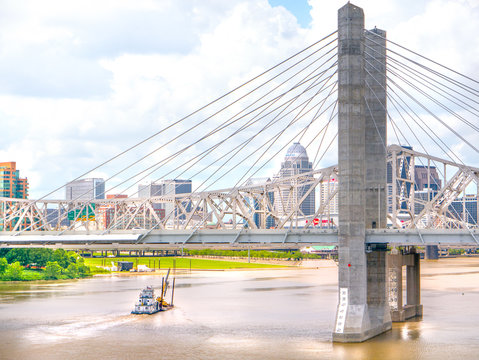 Visit Louisville, Kentucky to view cityscape waterfront bridge and downtown skyline