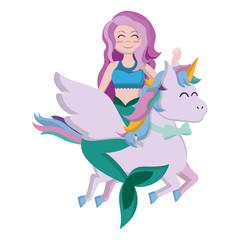 cute siren woman riding unicorn