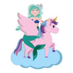 siren woman with hairstyle riding unicorn
