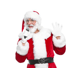 Santa Claus singing into microphone on white background. Christmas music