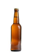 Bottle of tasty cold beer on white background