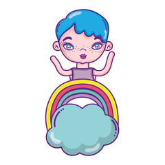 woman short hairstyle and rainbow with cloud