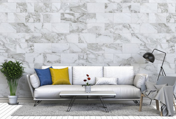 Interior living room with sofa armchair and a table on a background of a marble wall, 3d render