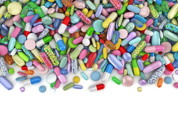Healthcare themed pile of colorful pills - 3d render
