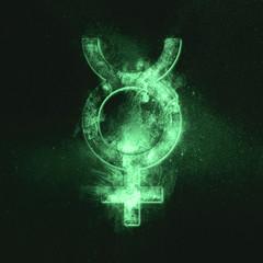 Planet Mercury Symbol. Mercury sign. Green symbol