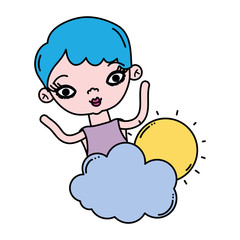 color beauty woman with fluffy cloud and sun