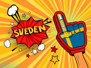 Sports fan male hand in glove raised up celebrating win of Sweden speech bubble with stars and clouds.  colorful pop art style fan illustration