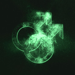 Male homosexuality symbol. Gay glyph. Doubled male sign. Green symbol