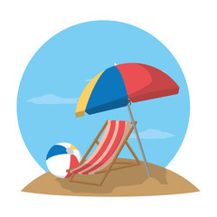open umbrella with beach chair and ball