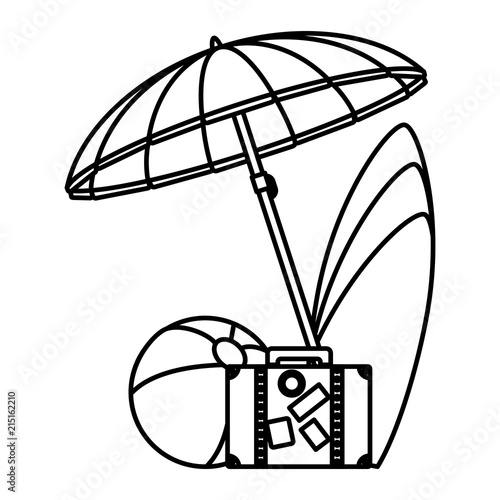 Line Umbrella With Surfboard And Beach Ball To Travel Stock Image