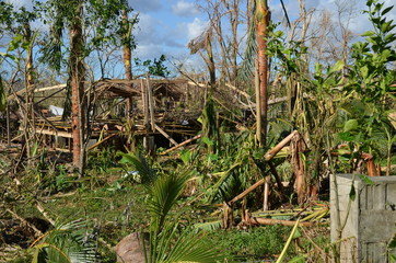 Aftermath of cyclone Pam. Pam struck the islands of Vanuatu (South Pacific) on March 14 and 15, 2015. and destroyed almost 90 percent of the houses. Shot shortly after the disaster.