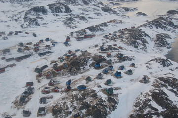 The town of Kulusuk in East Greenland. Shot in October from a Helicopter.