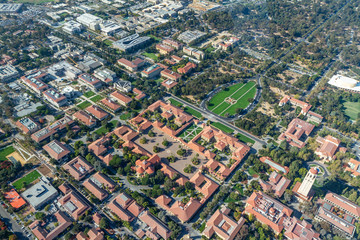 Aerial View of Stanford University Campus Oval and Quad, Palo Alto, California